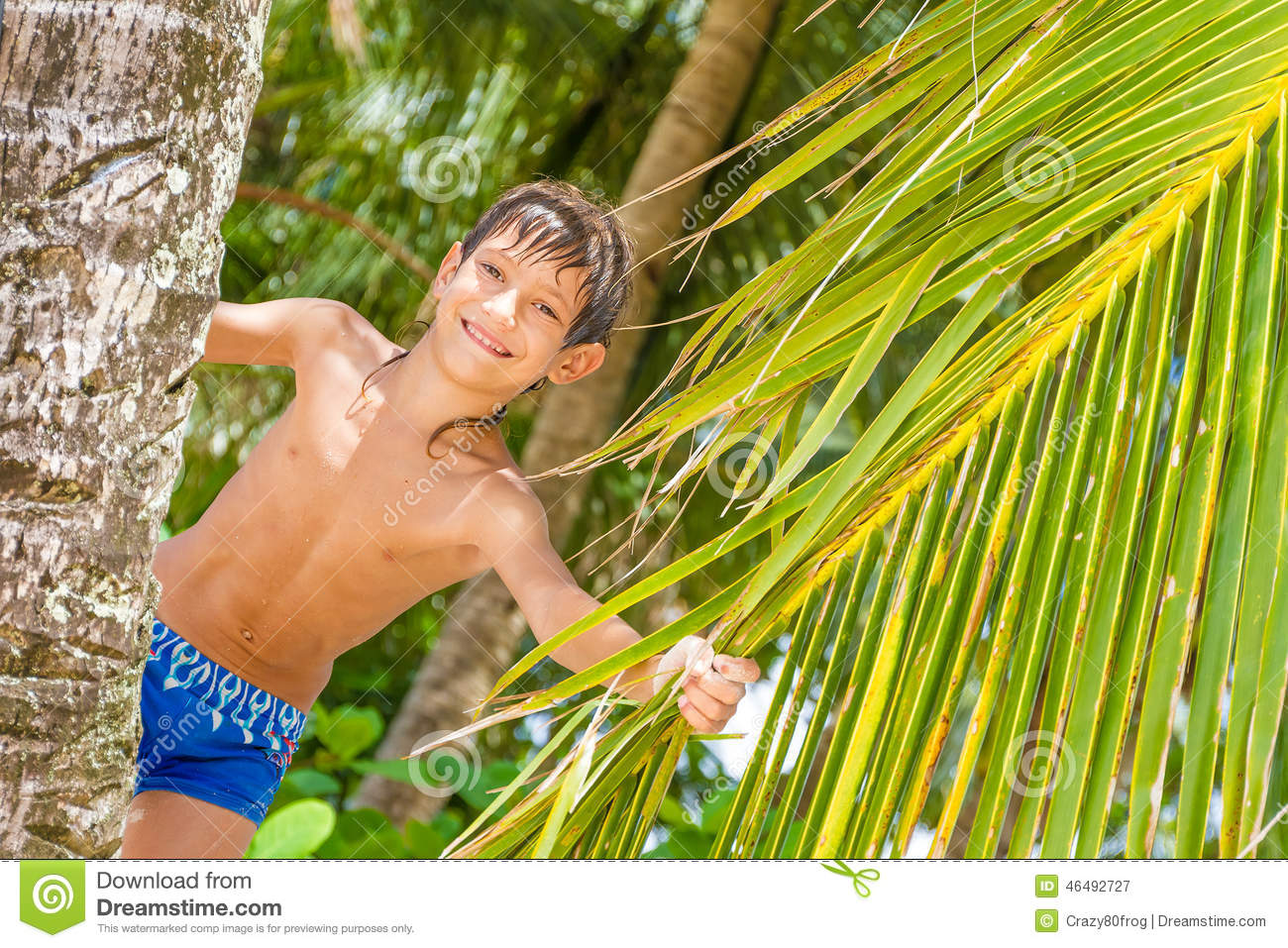 Portrait Of Young Happy Child Boy In Tropical Background ...
