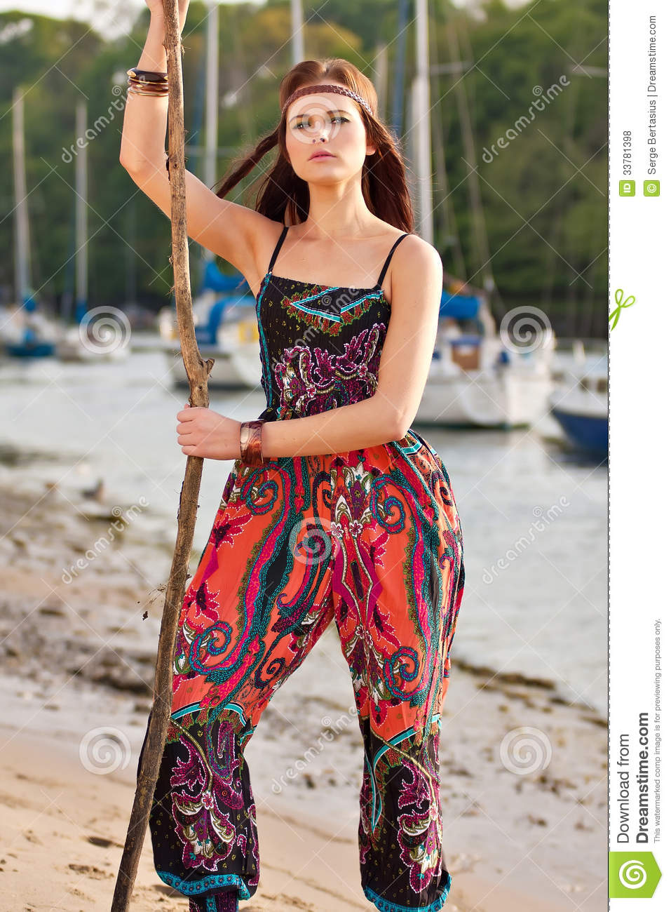 portrait of young hippie girl stock photo image 33781398