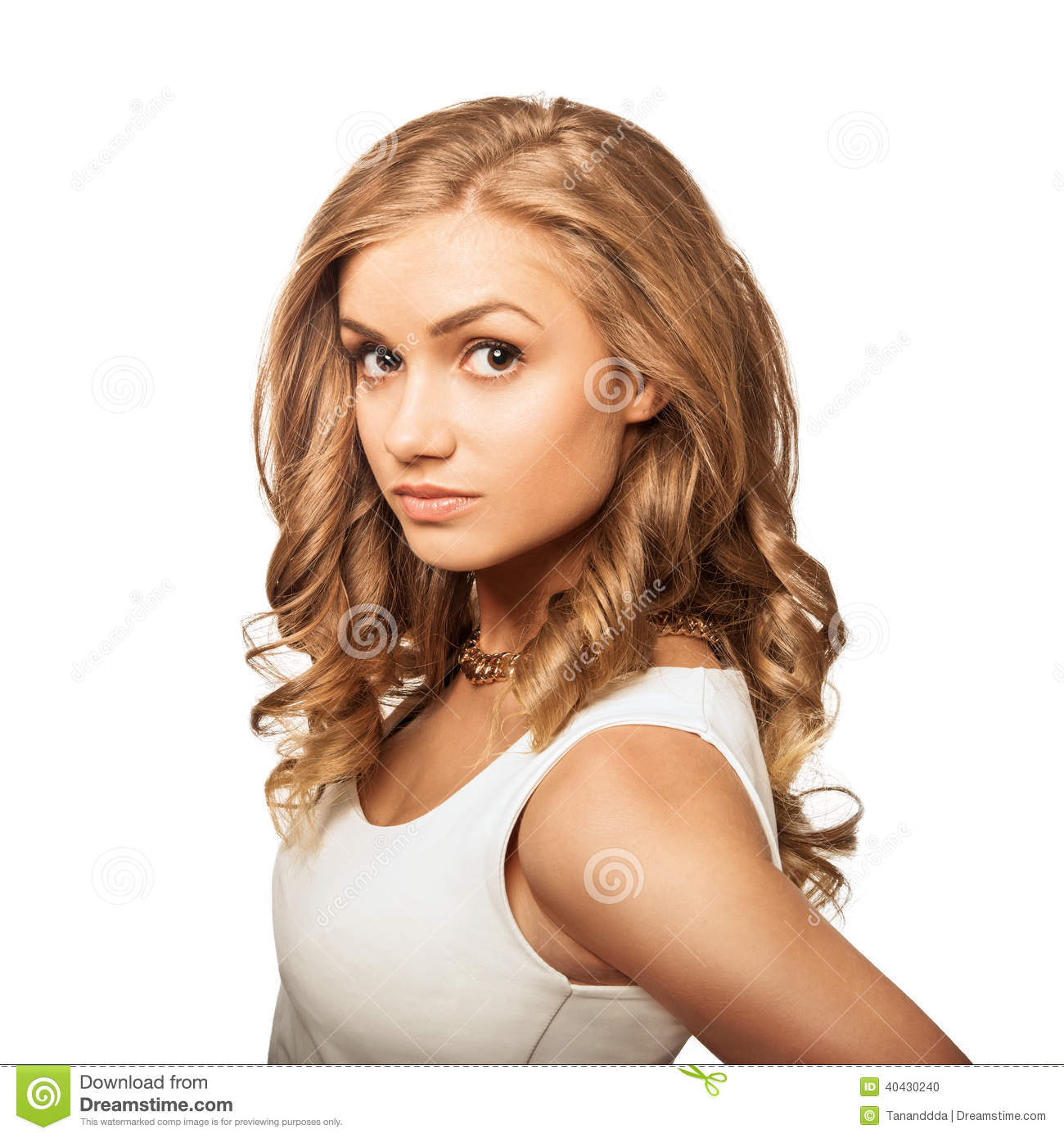 Portrait young lovely blonde woman with brown eyes
