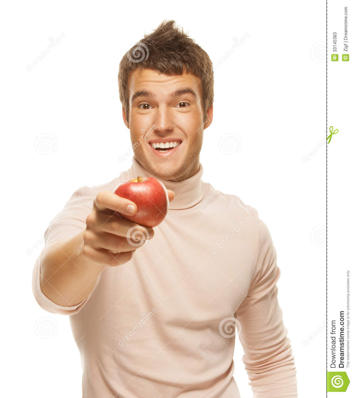 Portrait Of Young Man Holding Red Apple Stock Image
