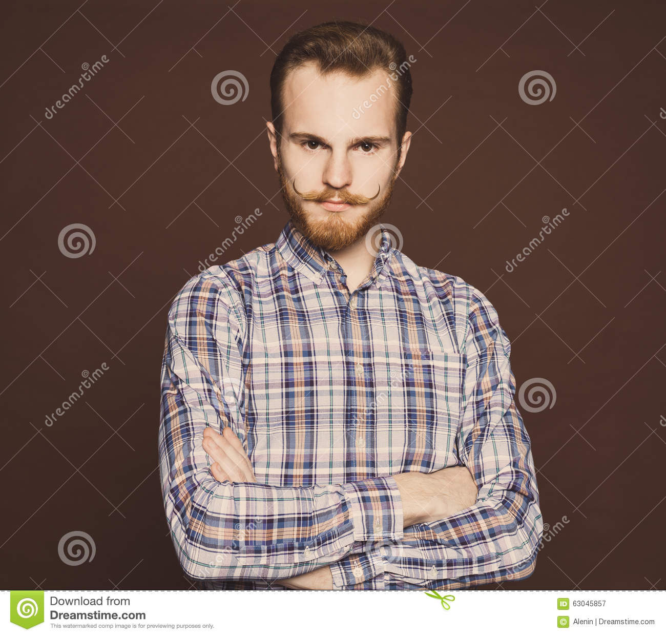 Astonishing Portrait Of A Young Man With A Mustache And Beard Jeans And Plaid Short Hairstyles For Black Women Fulllsitofus