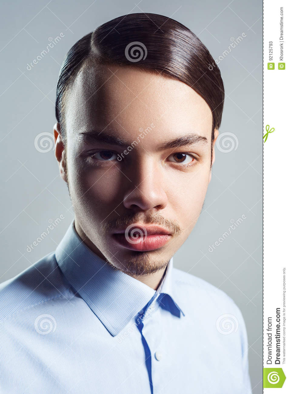 Portrait Of Young Man With Retro Classic Hairstyle Studio Shot