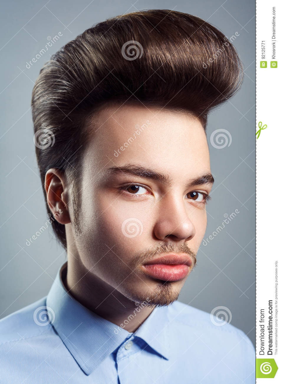 Portrait Of Young Man With Retro Classic Pompadour Hairstyle Stock