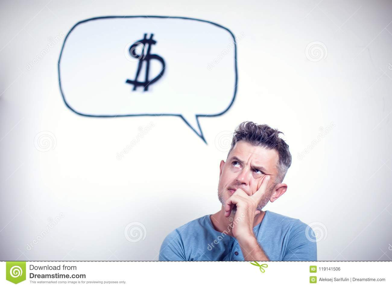 Portrait of a young man with a speech bubble dollar sign