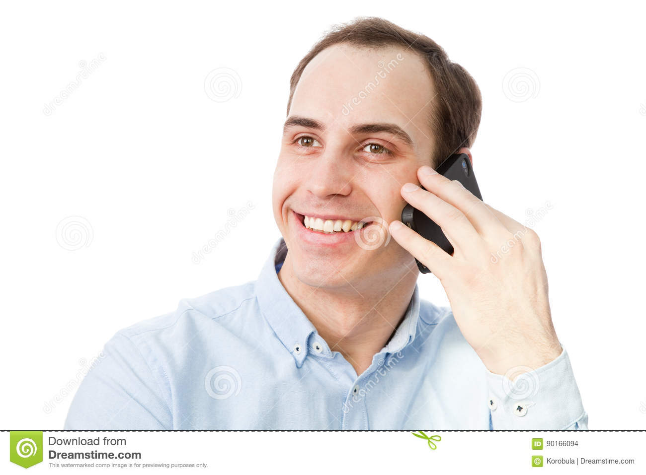 Portrait of young man talking on the phone.