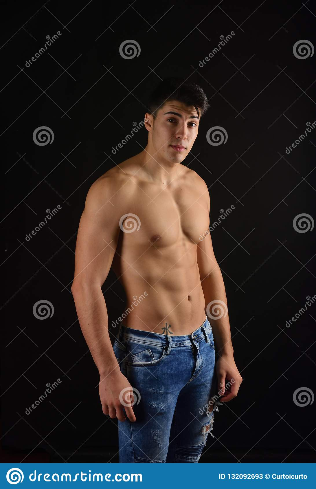 Young Sporty Handsome Man Naked Torso Stock Photo (Edit