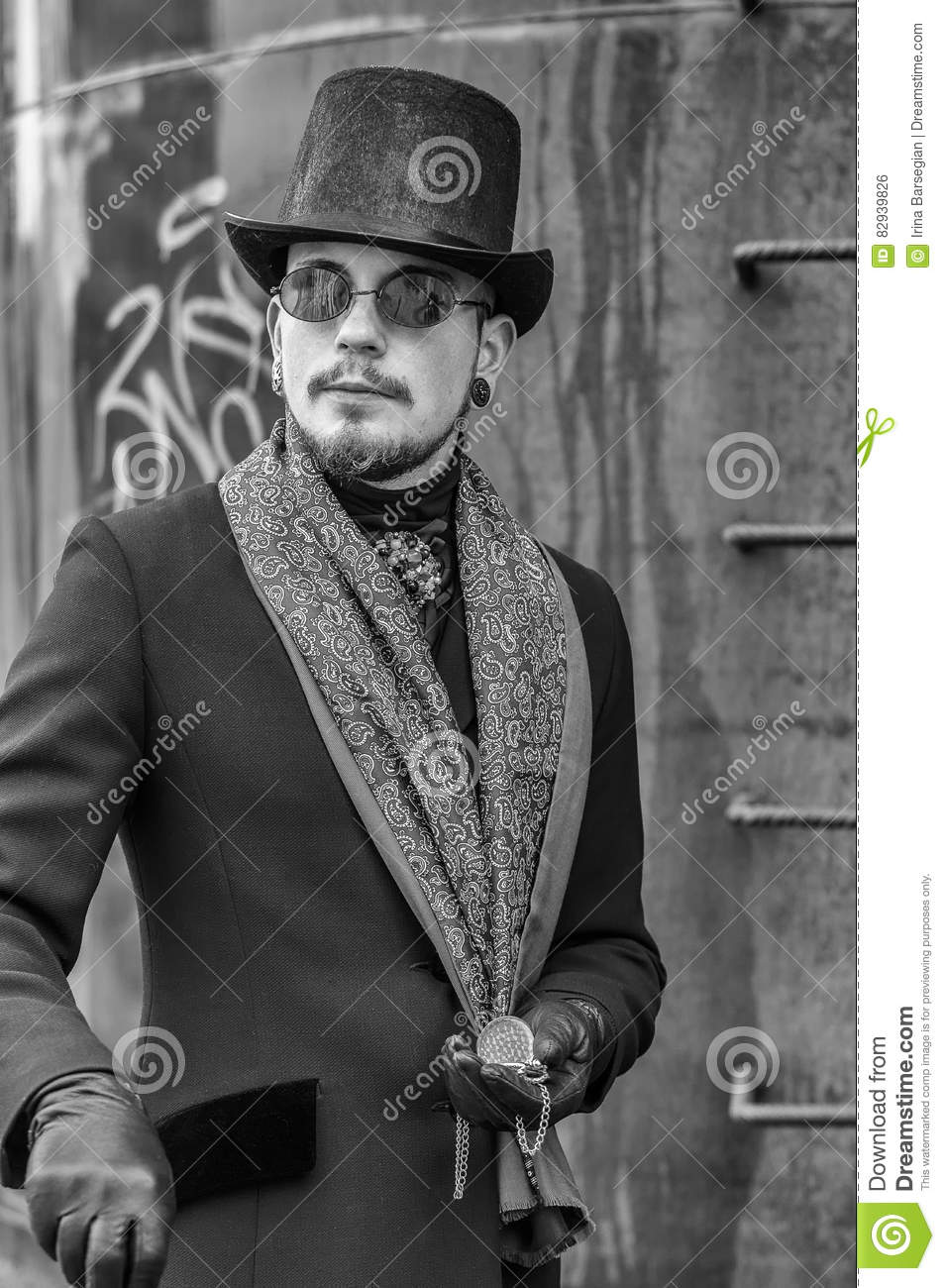 portrait of young man in a victorian era dress photo stock photo