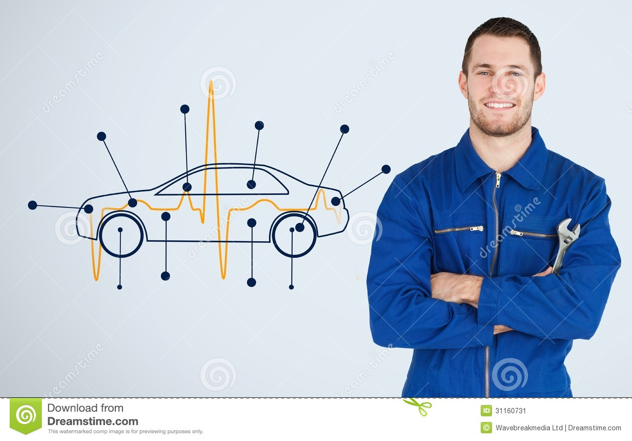 Portrait of a young mechanic next to background with car for Motor vehicle mechanics diagram