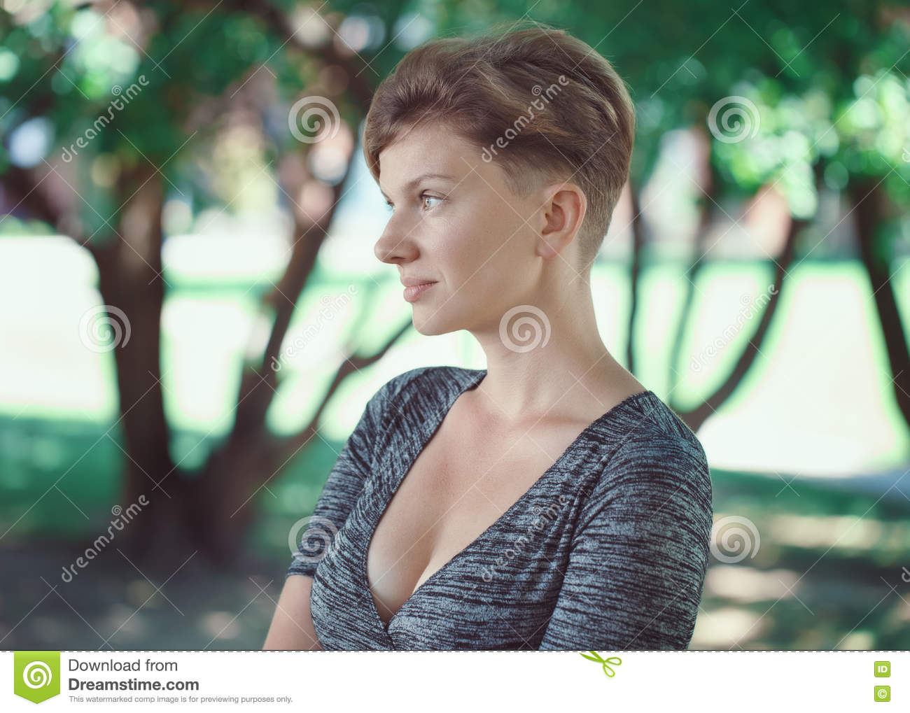 Portrait Of Young Middle Aged White Caucasian Girl Woman With Short
