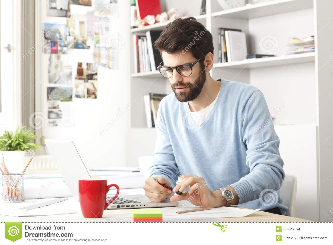 Portrait Of Young Modern Businessman Stock Photo Image