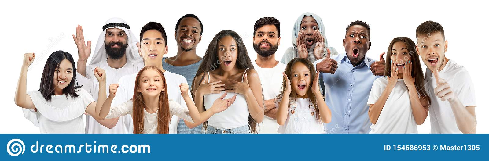 Portrait of young people looks astonished and happy on white background