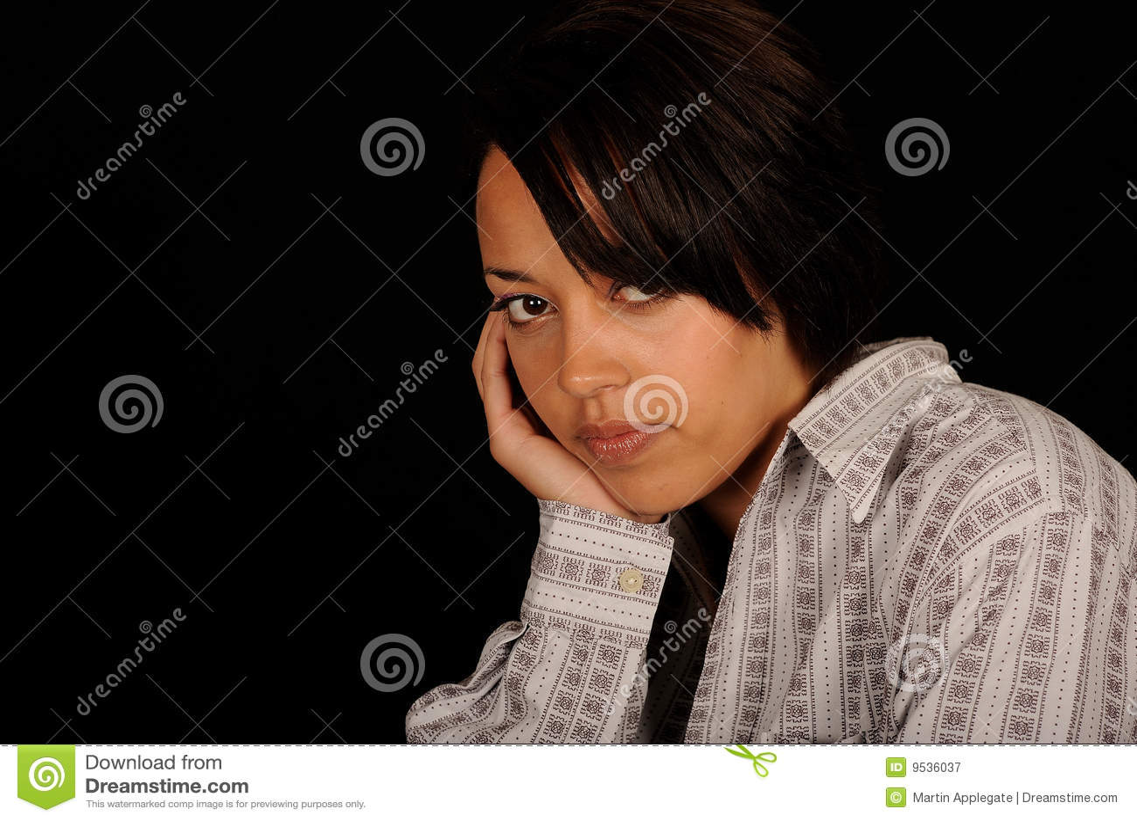 Portrait of young sad woman