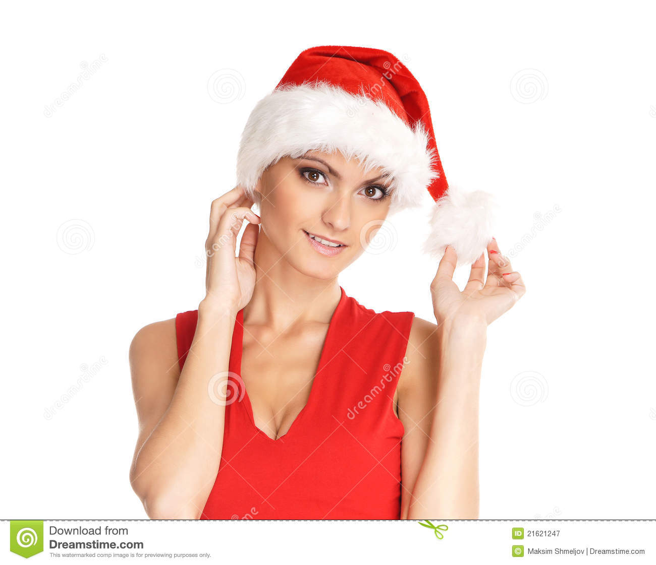 Portrait Of Young, Female Santa Royalty Free Stock