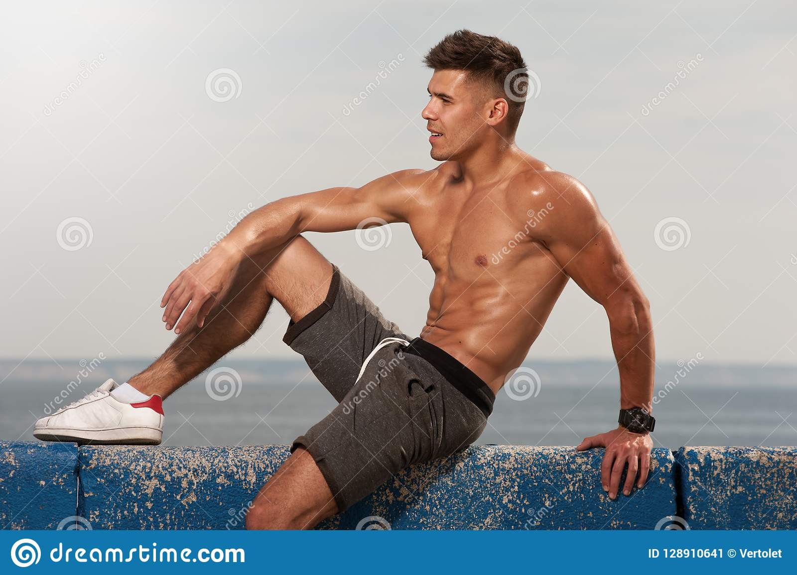 Healthy Athletic Young Man Muscle Half Stock Photo (Edit
