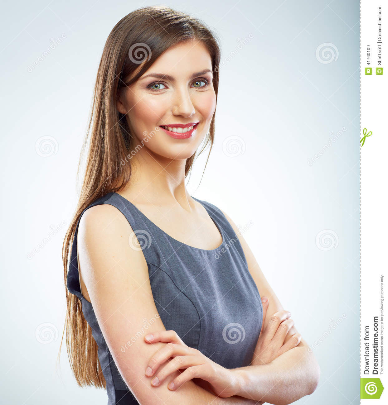 Business: Portrait Of Young Smiling Business Woman White Background