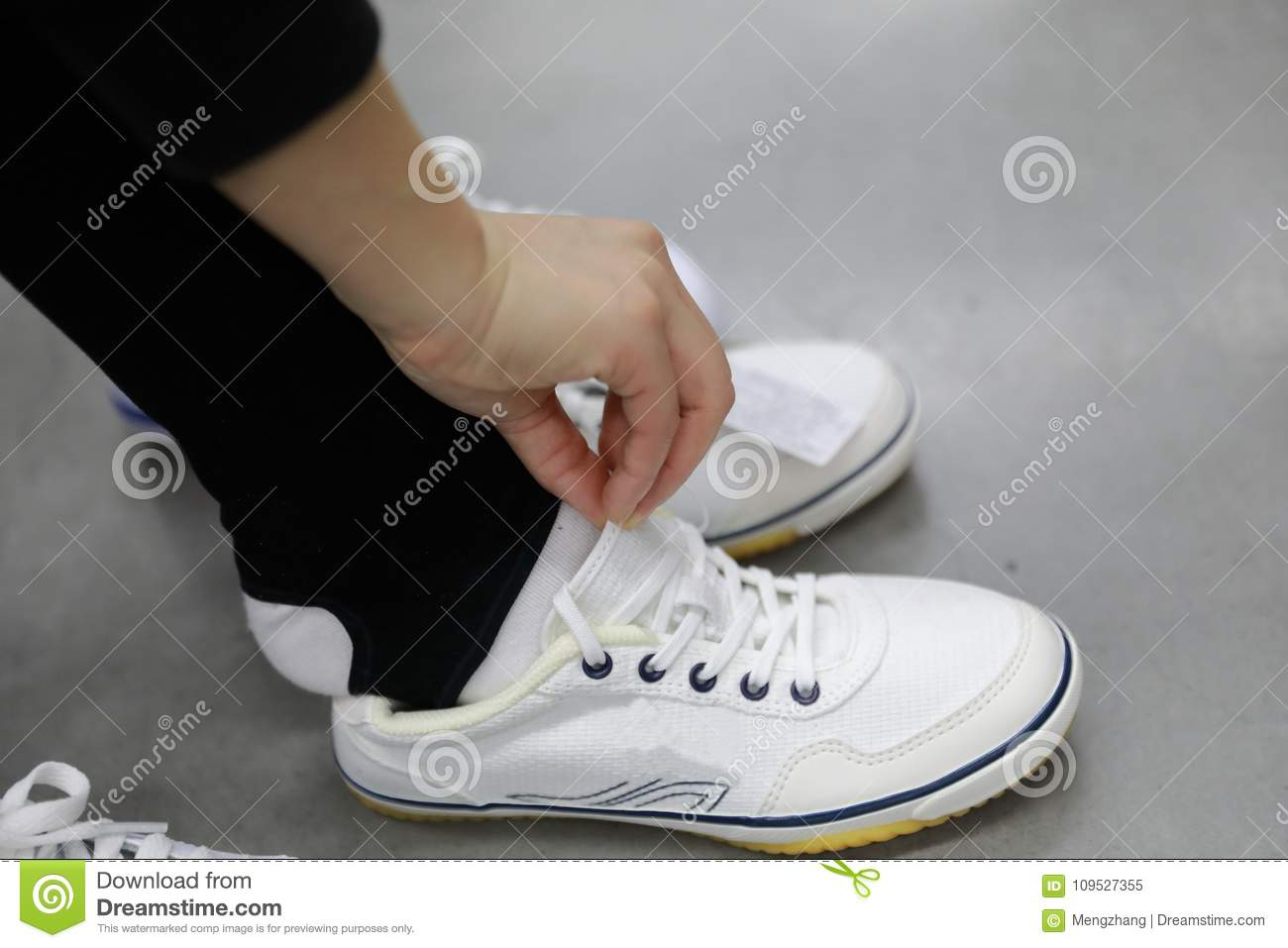 c402bf101a7 Trying New Shoes At Shanghai Decathlon Shop Stock Image - Image of ...