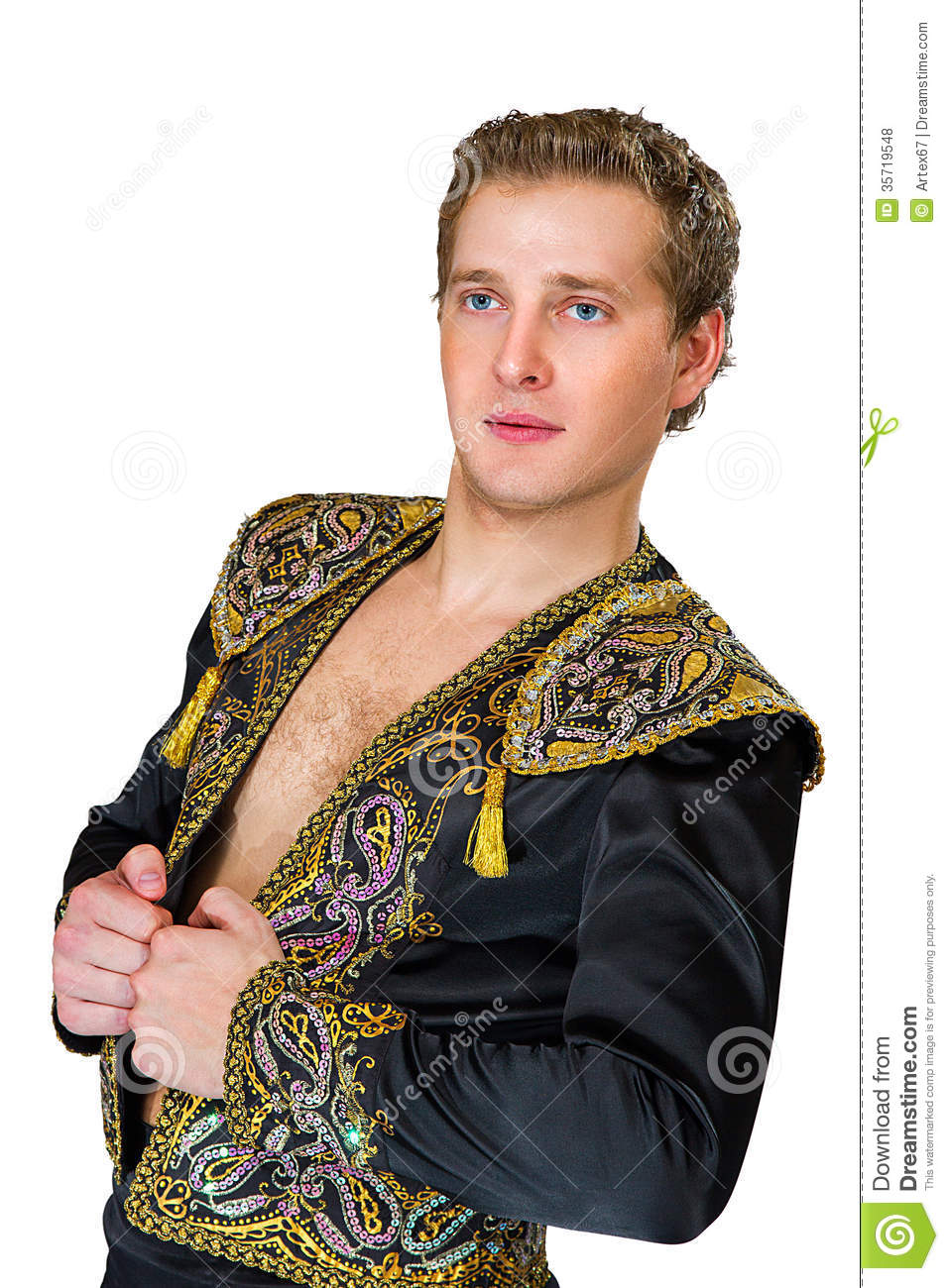 Portrait Of A Young Spanish Men In Beautiful Jacket Stock