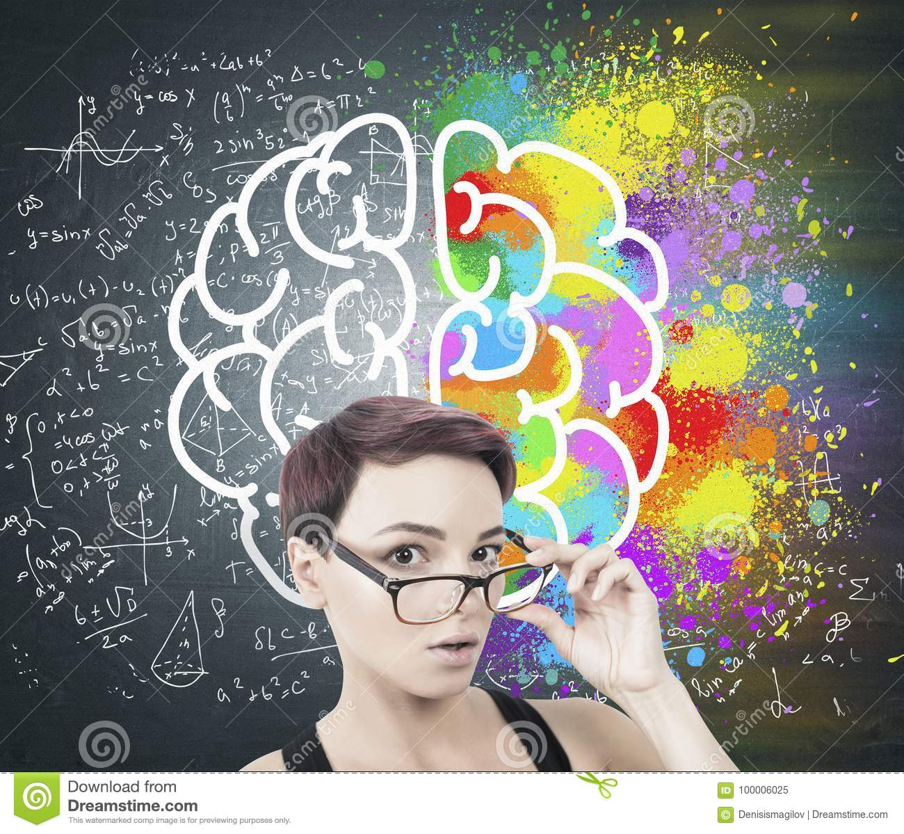 05a960a2cff Portrait of a young surprised woman with short red hair taking off her  glasses. She is standing near a blackboard with formulas and a colorful  brain sketch ...