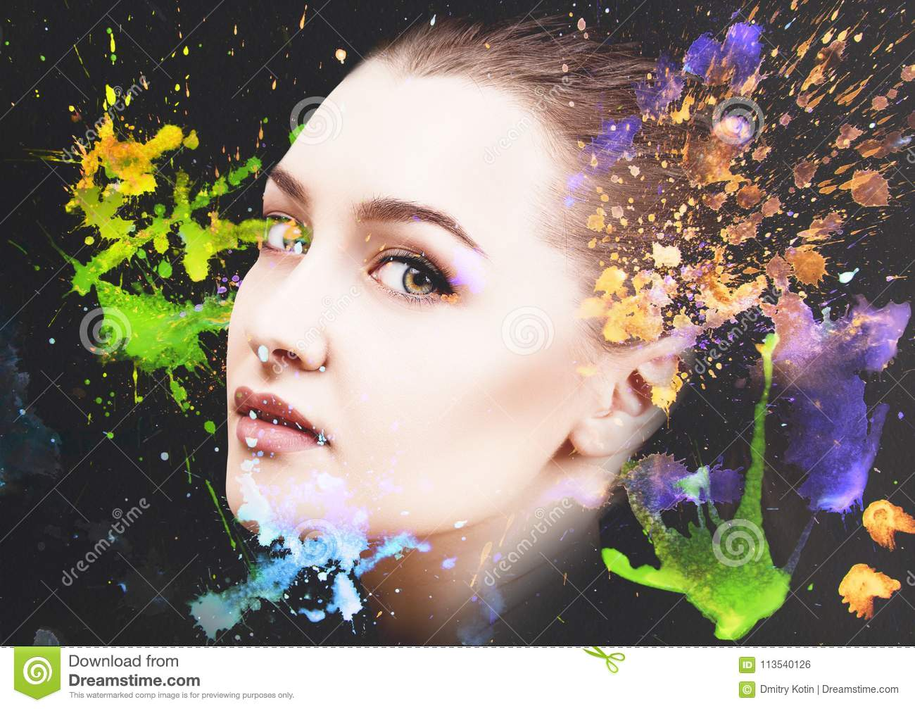 Portrait of young woman and colorful paint blots.