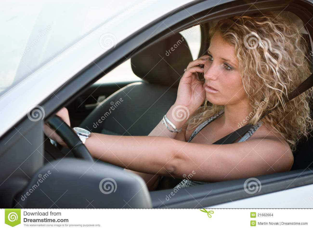 Portrait Of Young Woman Driving Car Stock Images Image