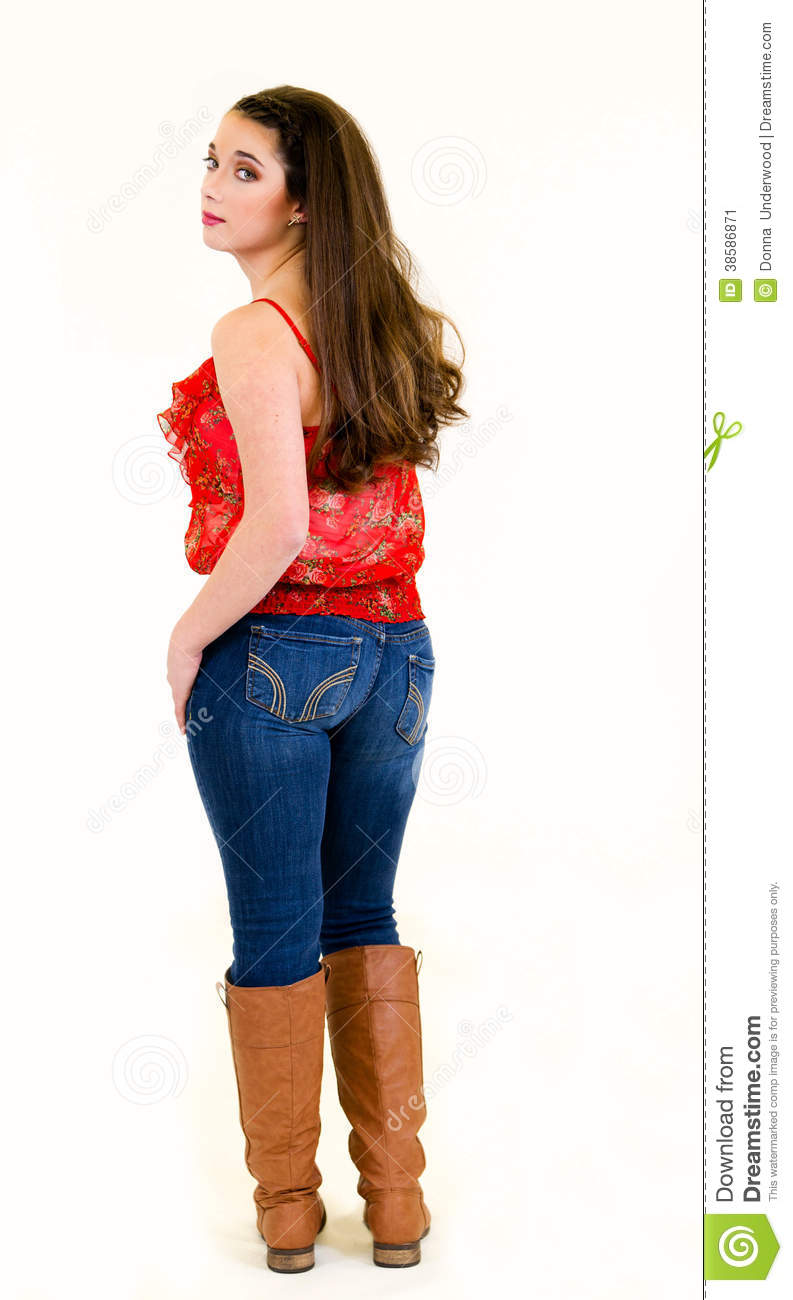 Portrait Young Woman Full Body Back View Stock Image - Image: 38586871