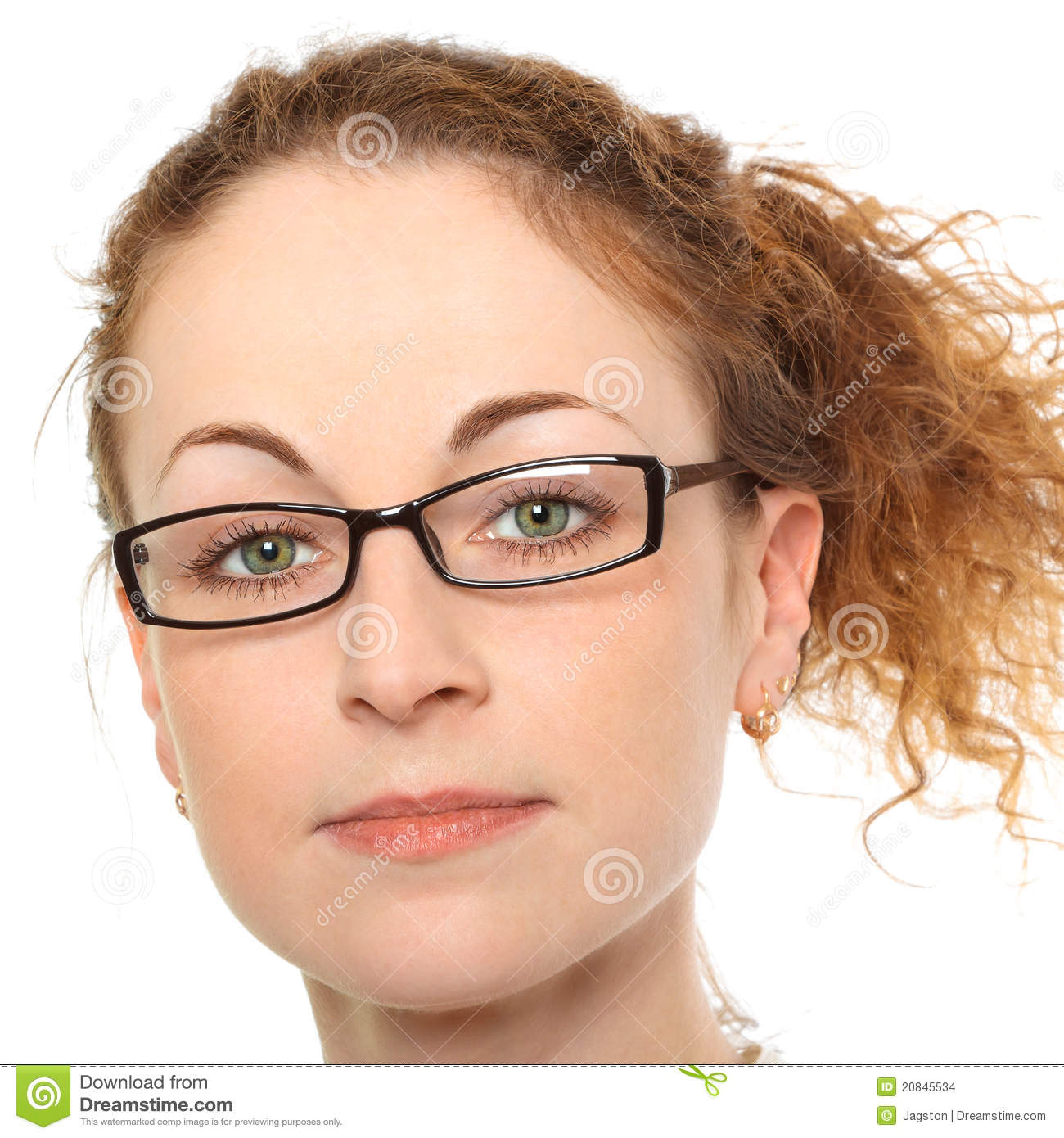 Portrait Of Young Woman In Glasses Stock Photo Image