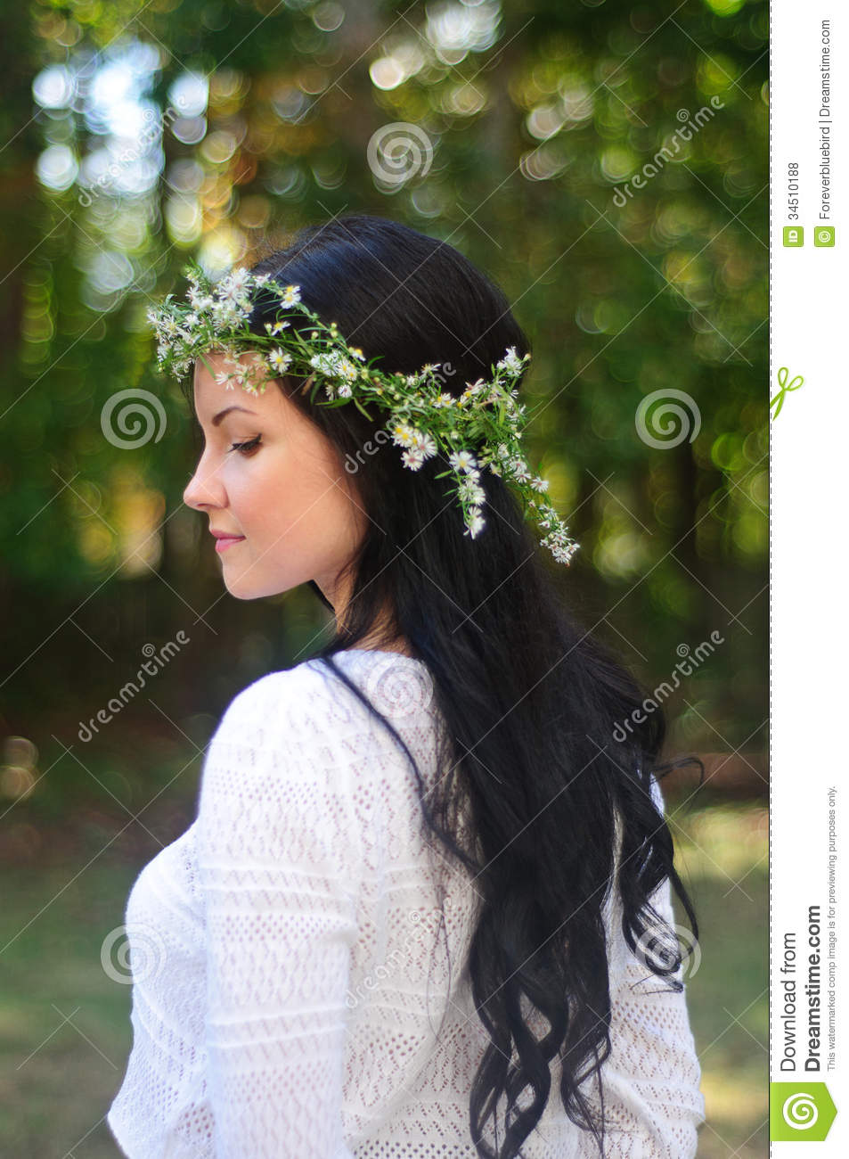 Portrait of a young woman with long black hair and flower crown portrait of a young woman with long black hair and flower crown stock photo 34510188 megapixl izmirmasajfo