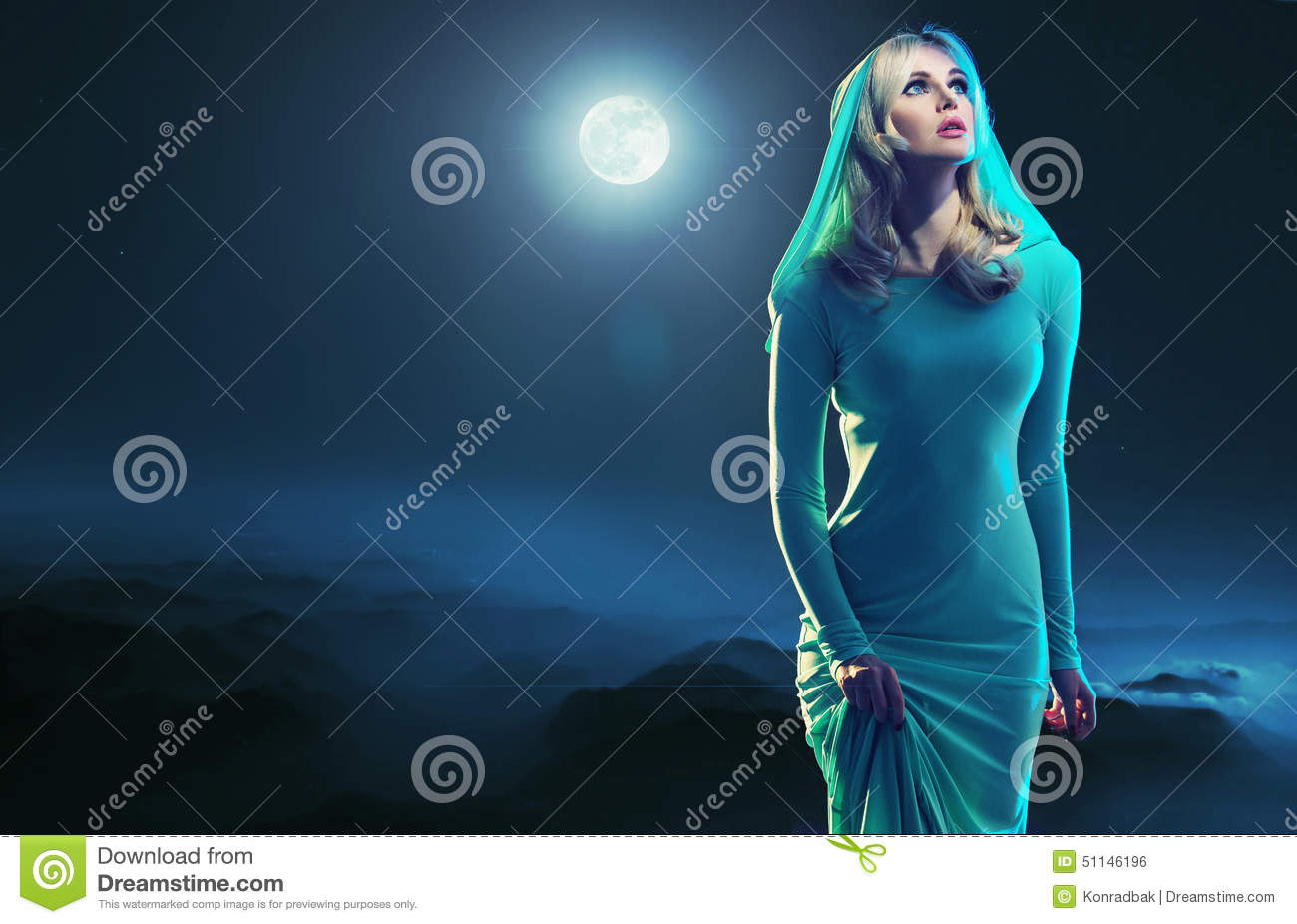 Portrait of an young woman over the moon