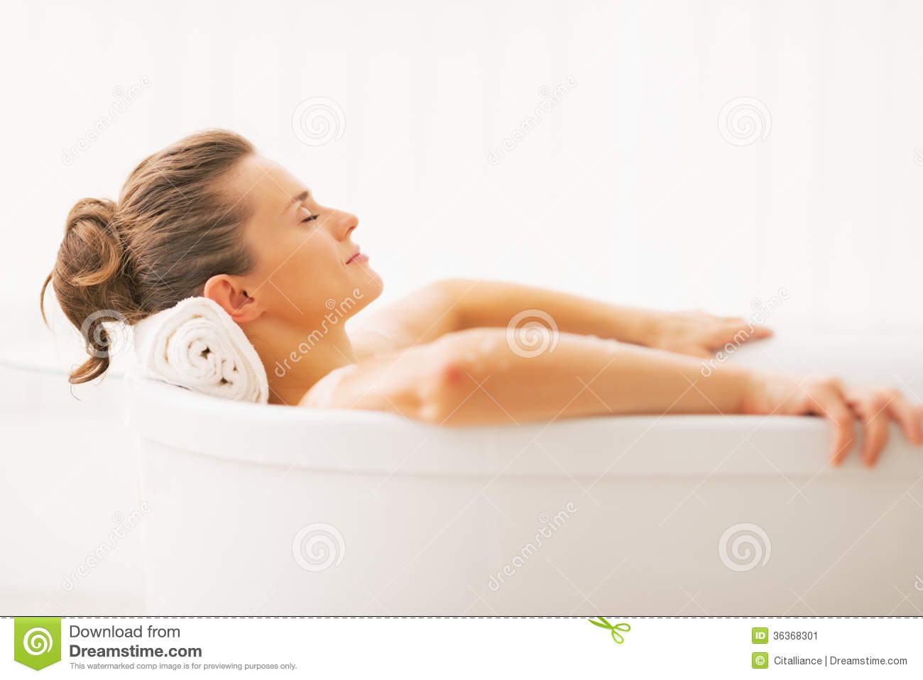 Portrait Of Young Woman Relaxing In Bathtub Stock Image - Image of ...