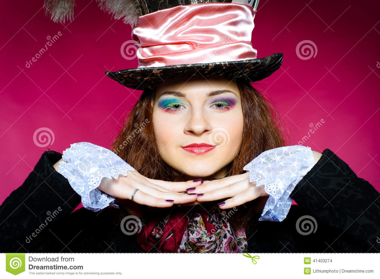 Portrait of young woman in the similitude of the Hatter