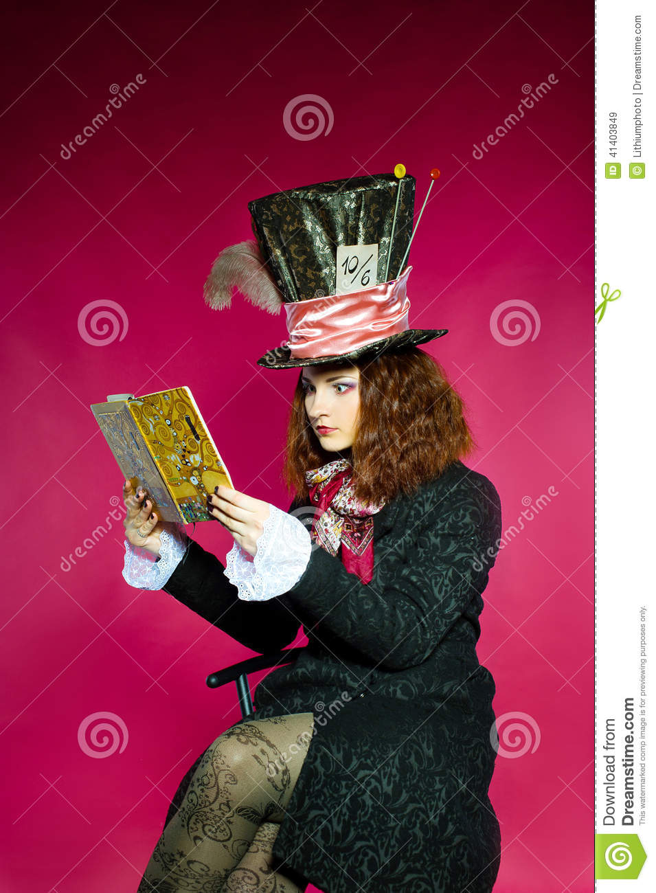 Portrait of young woman in the similitude of the Hatter (