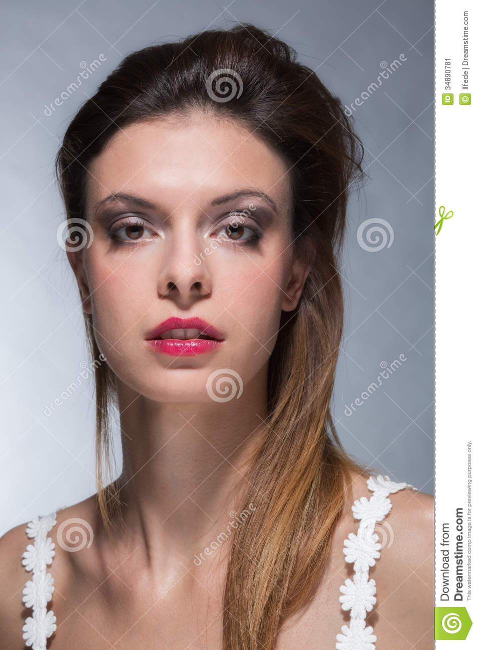 Portrait Of Young Woman With Strong Makeup Stock Image