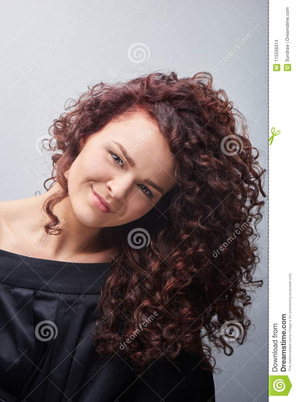 Portrait Of Young Woman With Trend Curly Hair Stock Photo Image Of