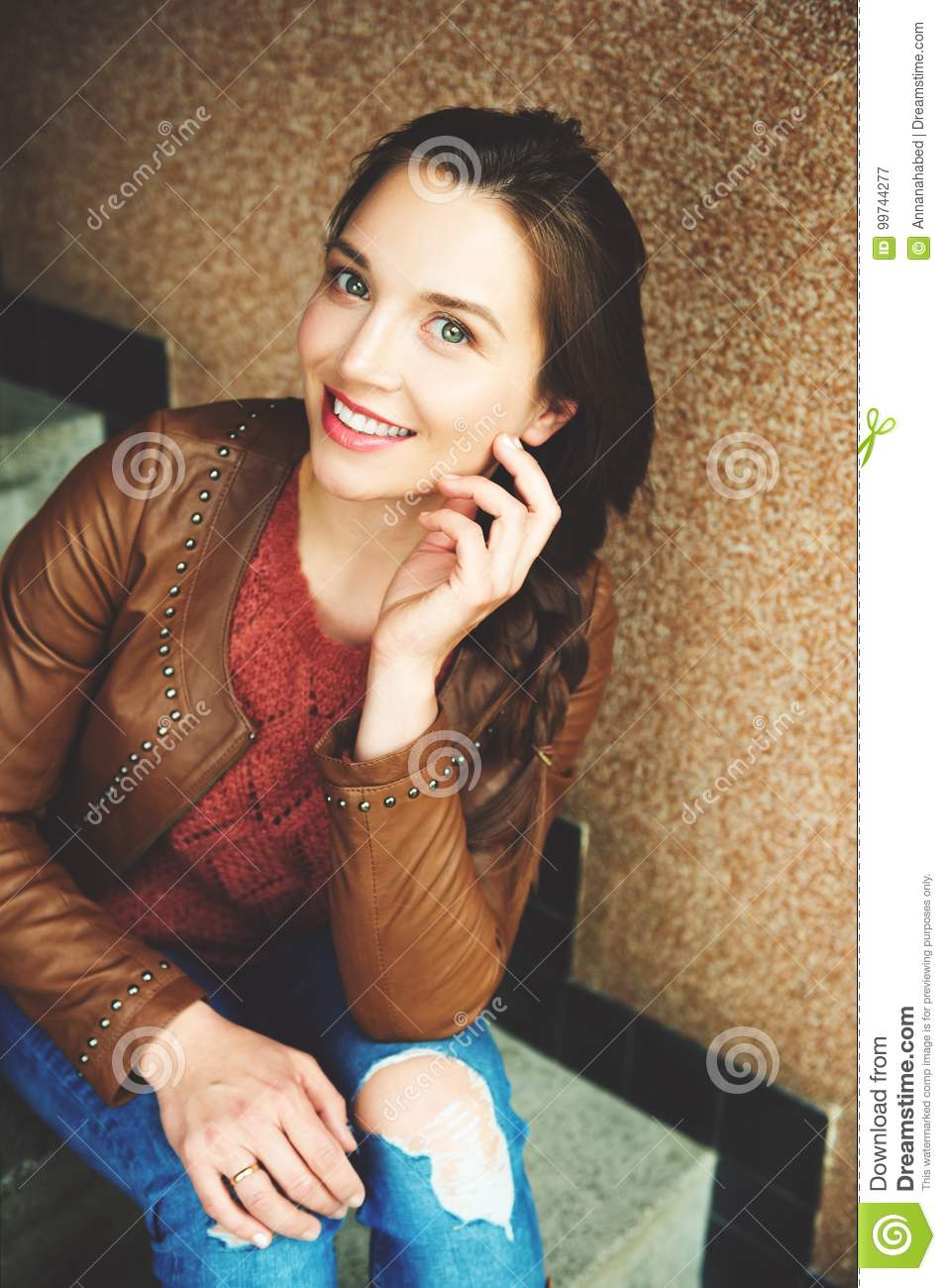 30 Yr Fixed Mortgage Rates: Portrait Of Young 25-30 Year Old Woman Stock Image
