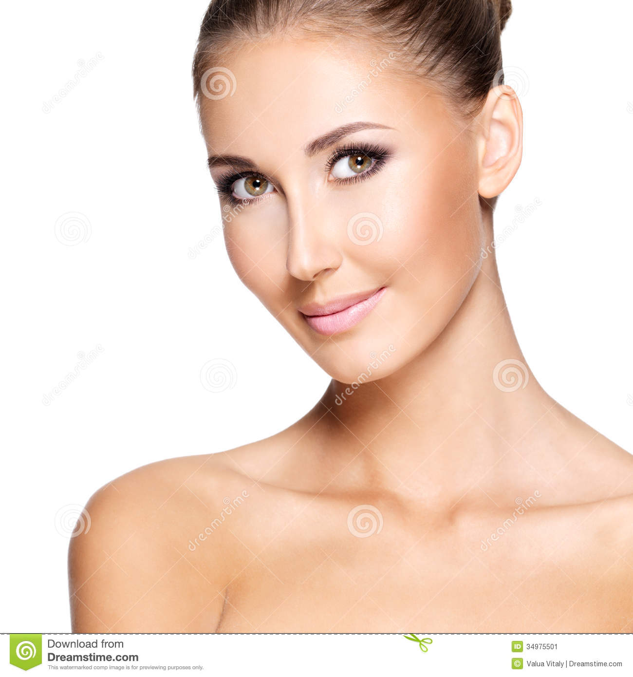 Flawless Skin: Portraite Of A Beautiful Woman With Perfect Skin Stock
