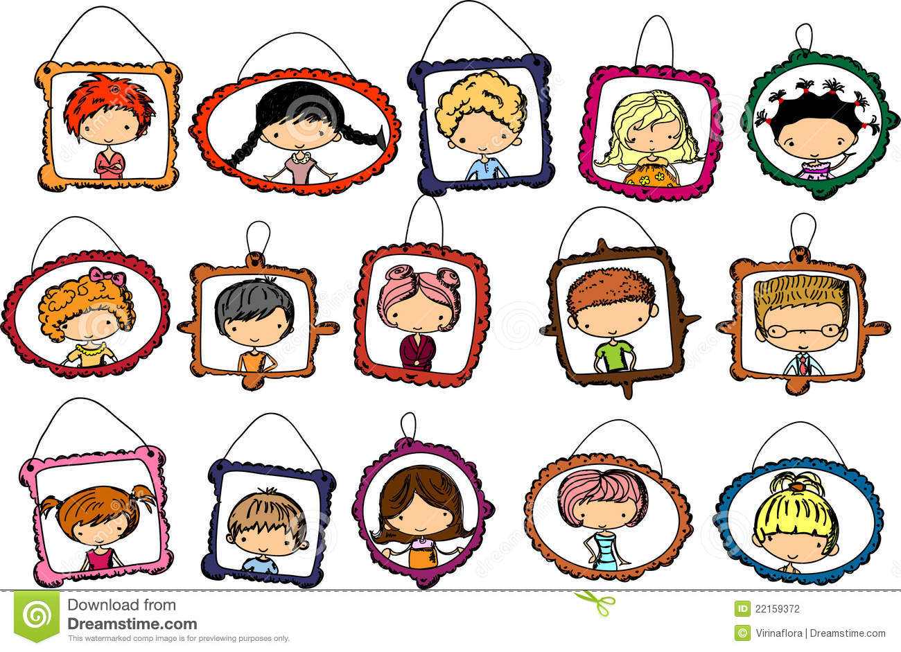 Portraits Of Children In The Frame Vector