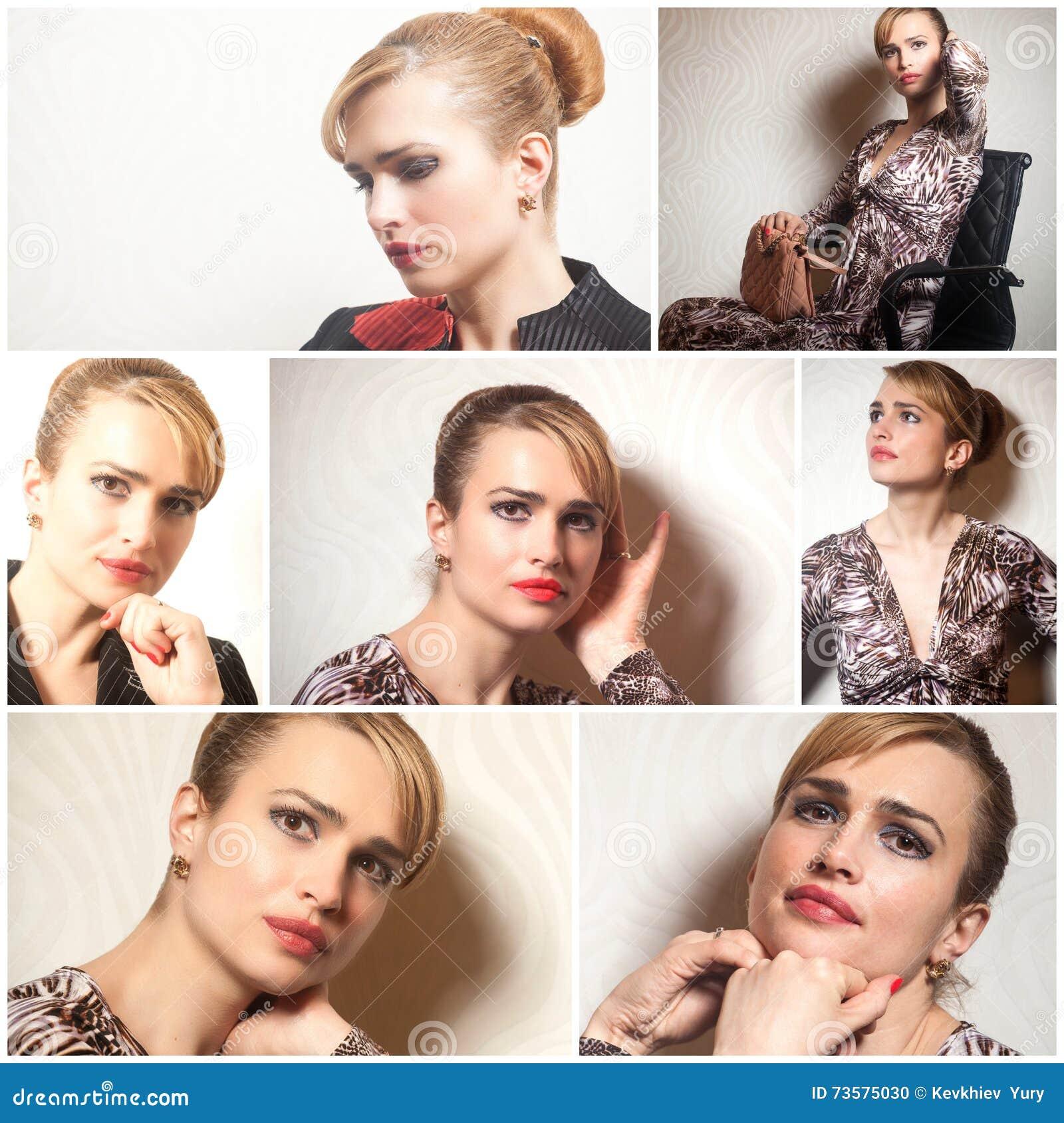 Portraits de belle jeune femme collage