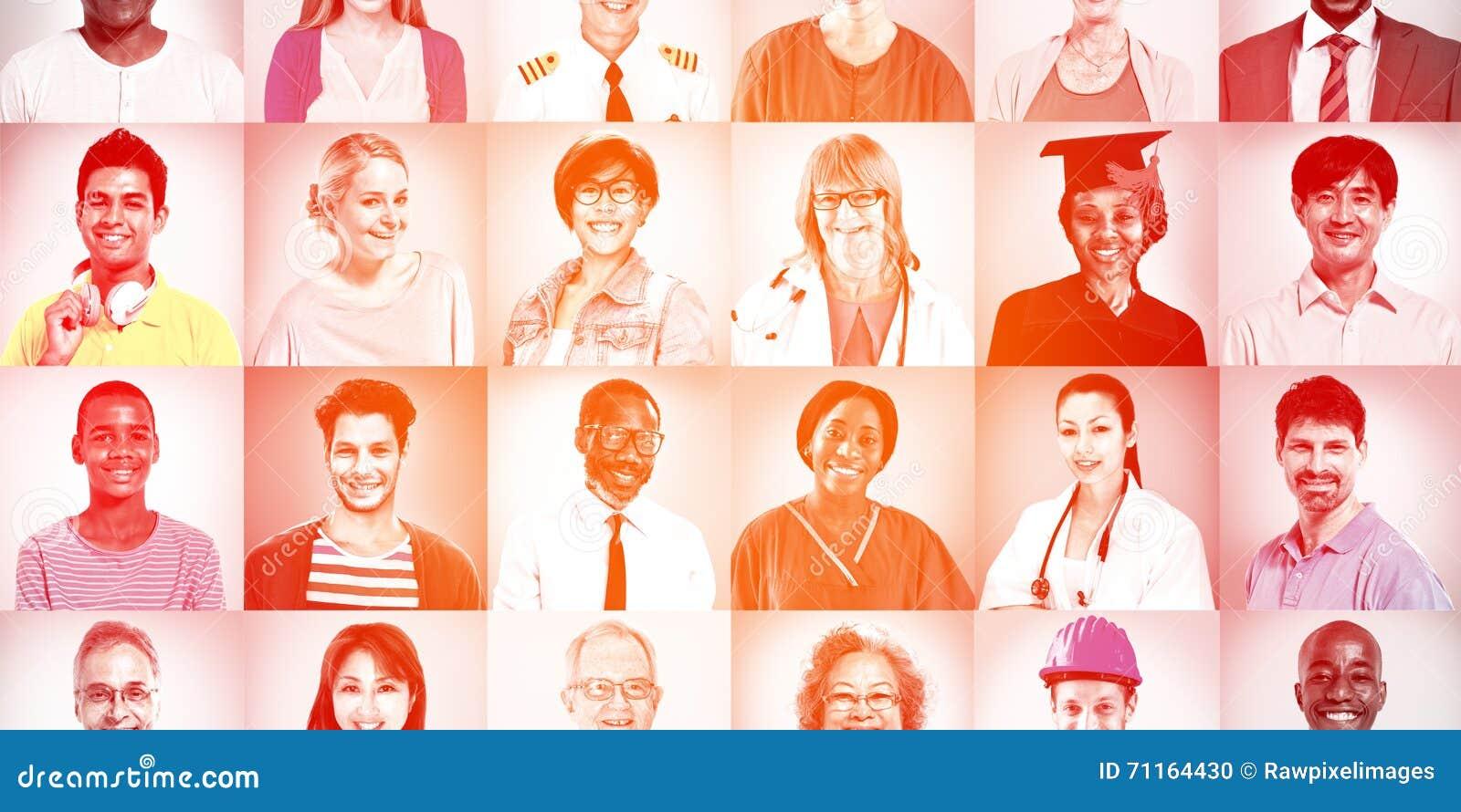 Portraits de concept mélangé multi-ethnique de personnes de professions