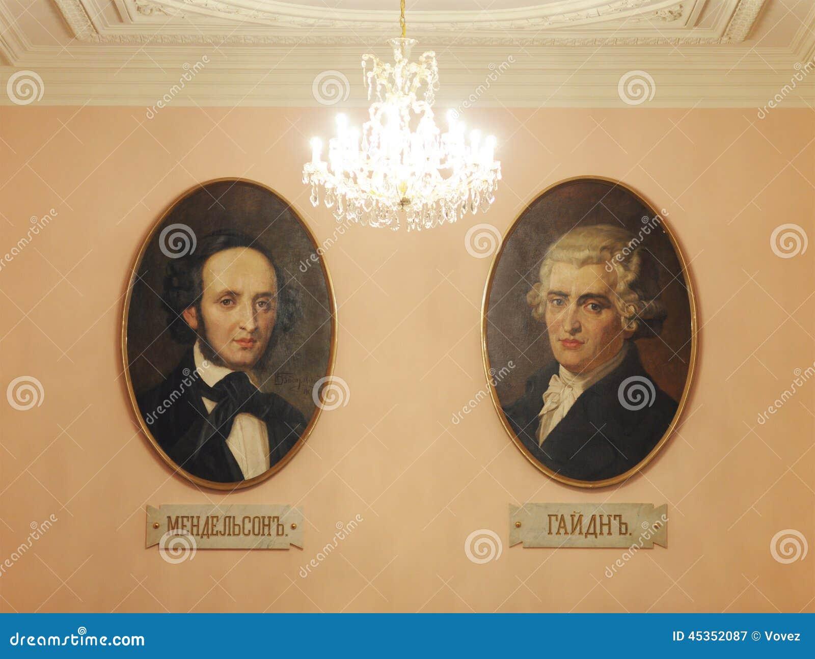 Portraits de Haydn et de Mendelssohn, conservatoire de Moscou