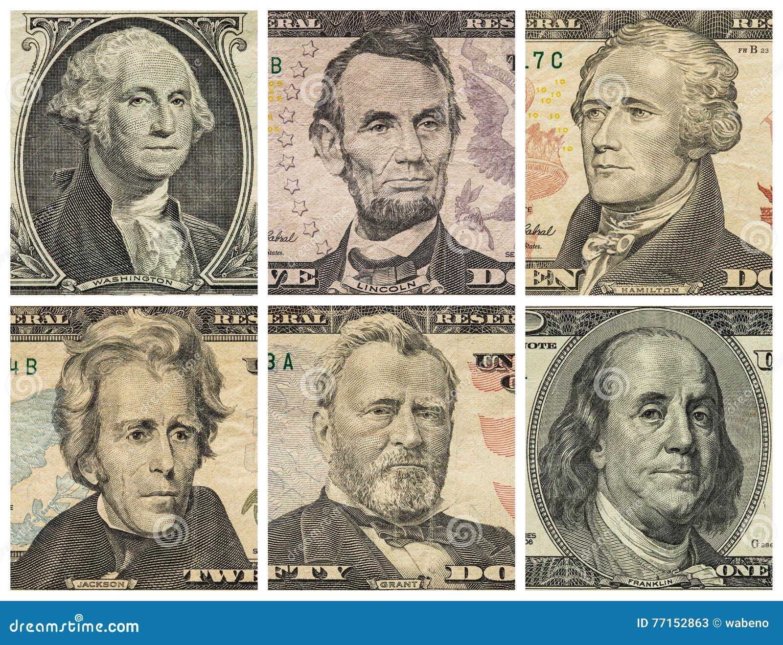 Portraits de président sur des billets d un dollar