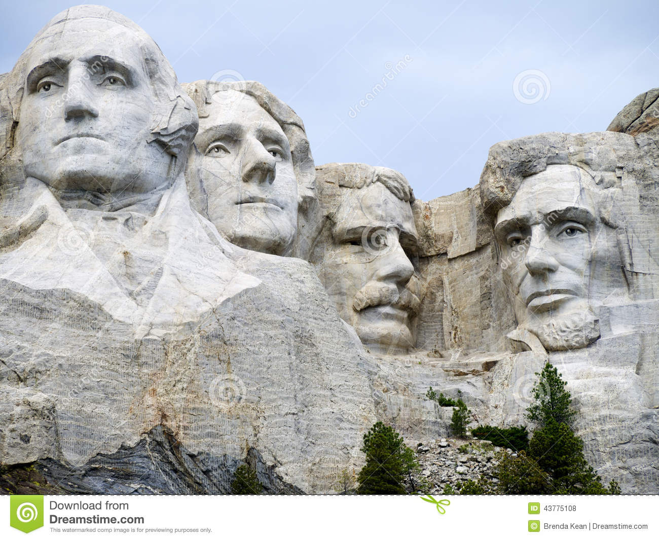 Portraits of presidents in the rock editorial stock photo