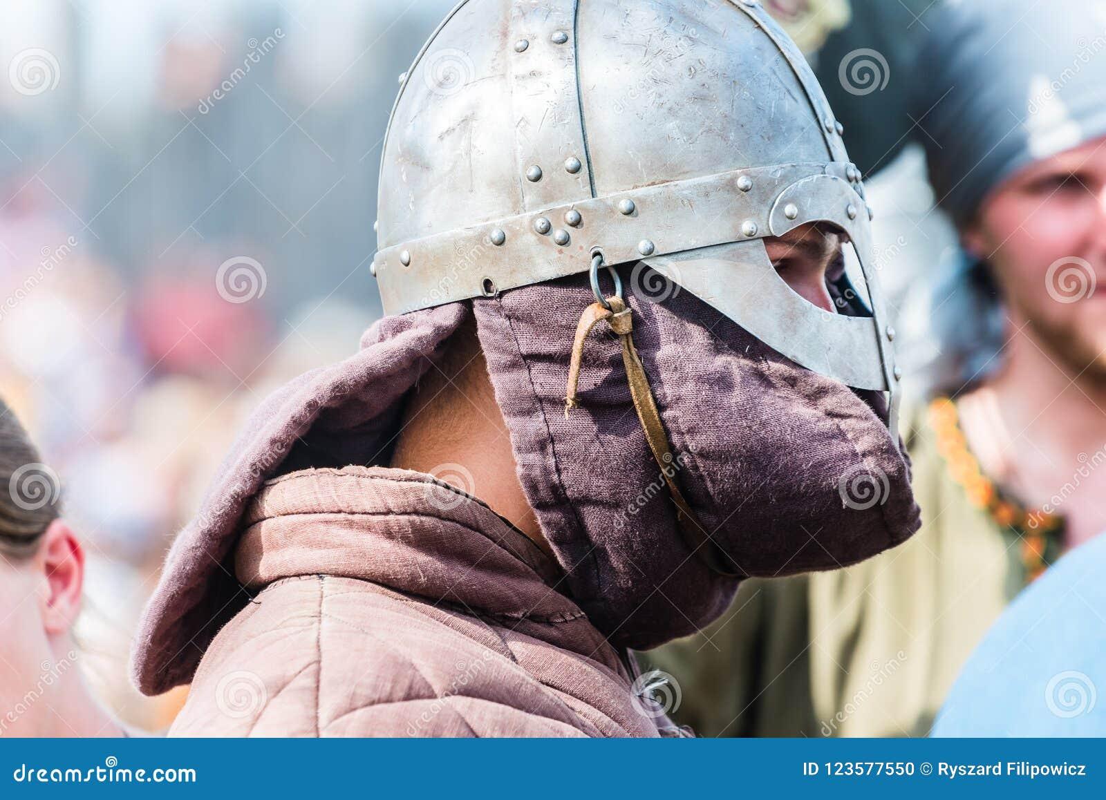 2c66d109dbd Portraits of reenactors Viking and Slav warriors before reenactment of  battle.