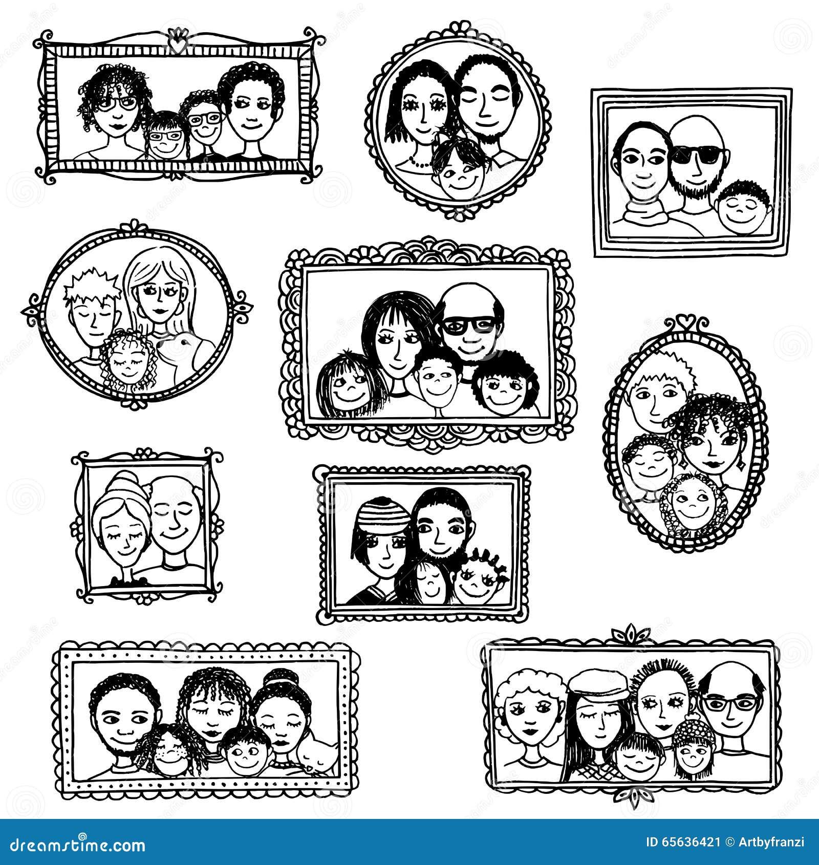 Portraits tirés par la main mignons de famille