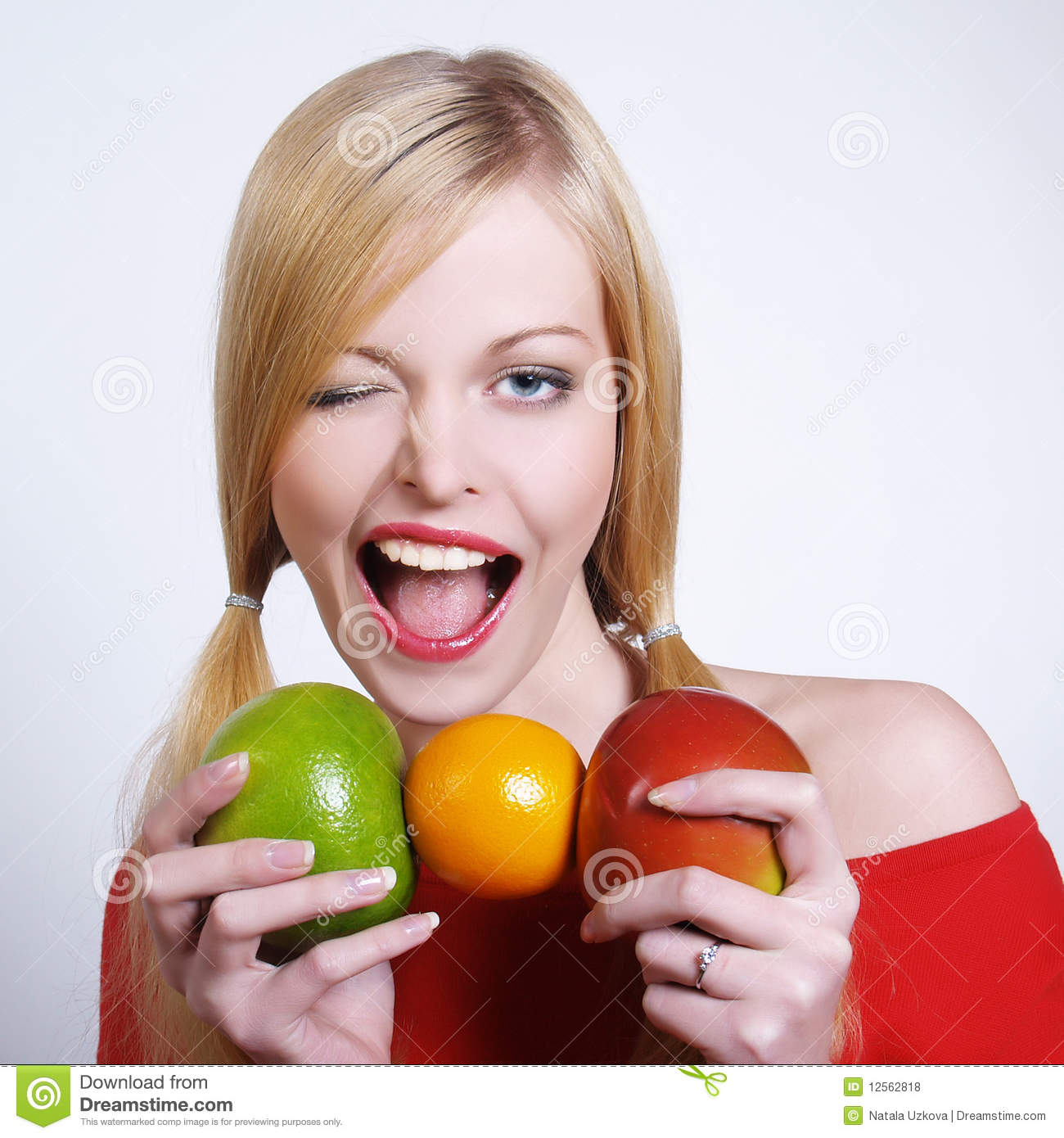 Download Portrate Of Beautiful Girl With The Fruits Stock Photo - Image of dieting, fruit: 12562818