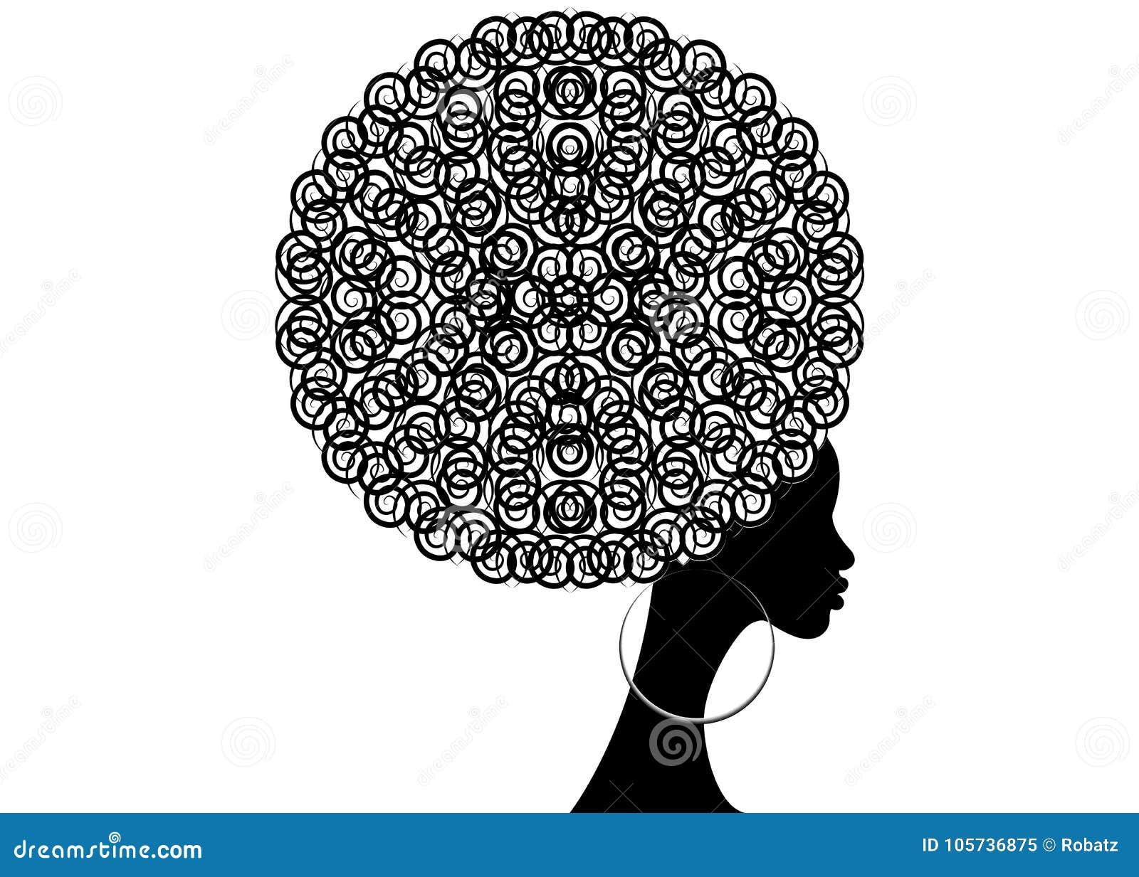 Portret Afrykańskie kobiety, ciemnej skóry żeńska twarz z włosianymi afro i etnicznymi tradycyjnymi kolczykami na odosobnionym, w