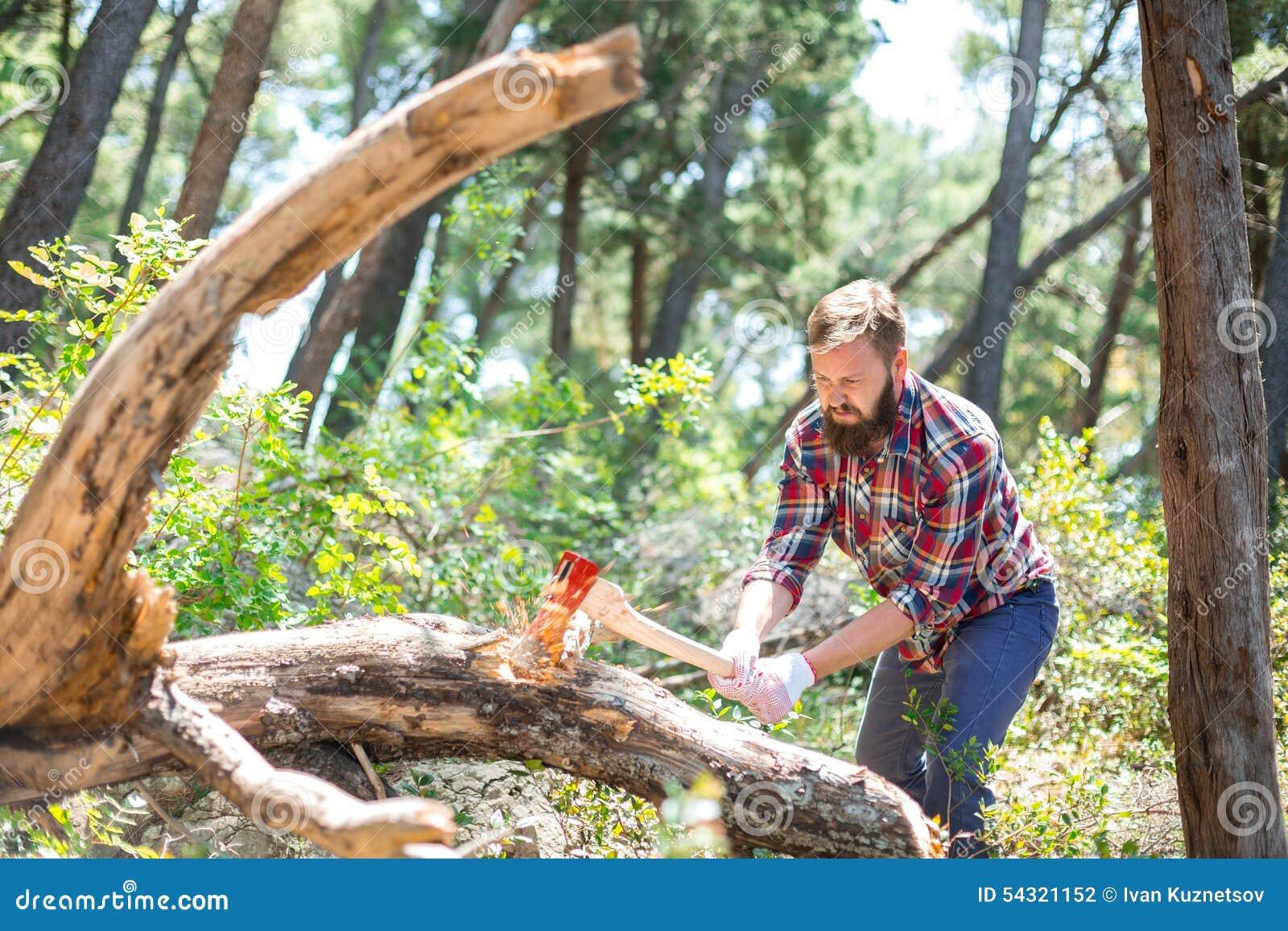 Portret atrakcyjny młody lumberjack