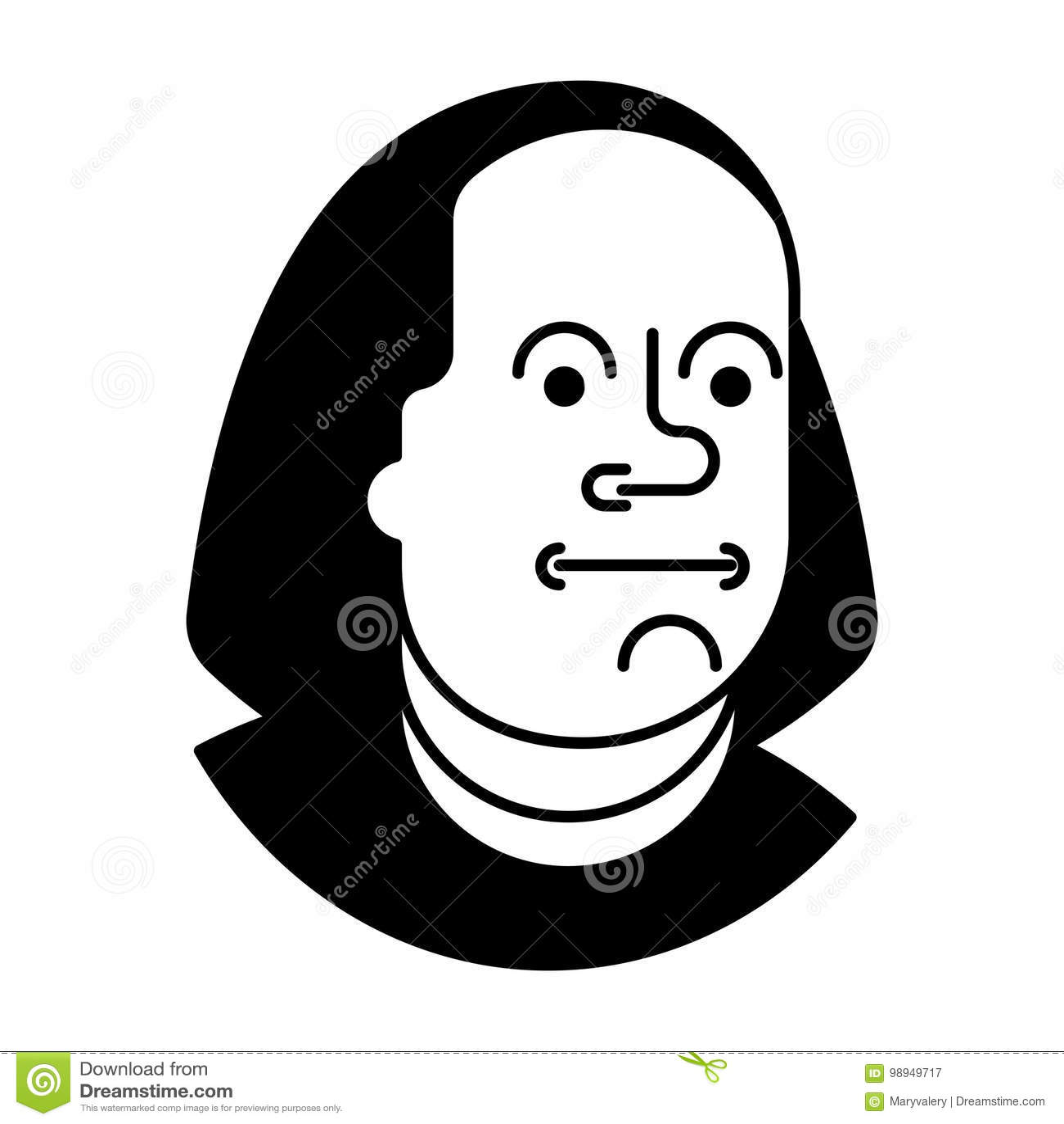 Portret Benjamin Franklin op 100 dollarsbankbiljet wordt geïsoleerd de V.S. die