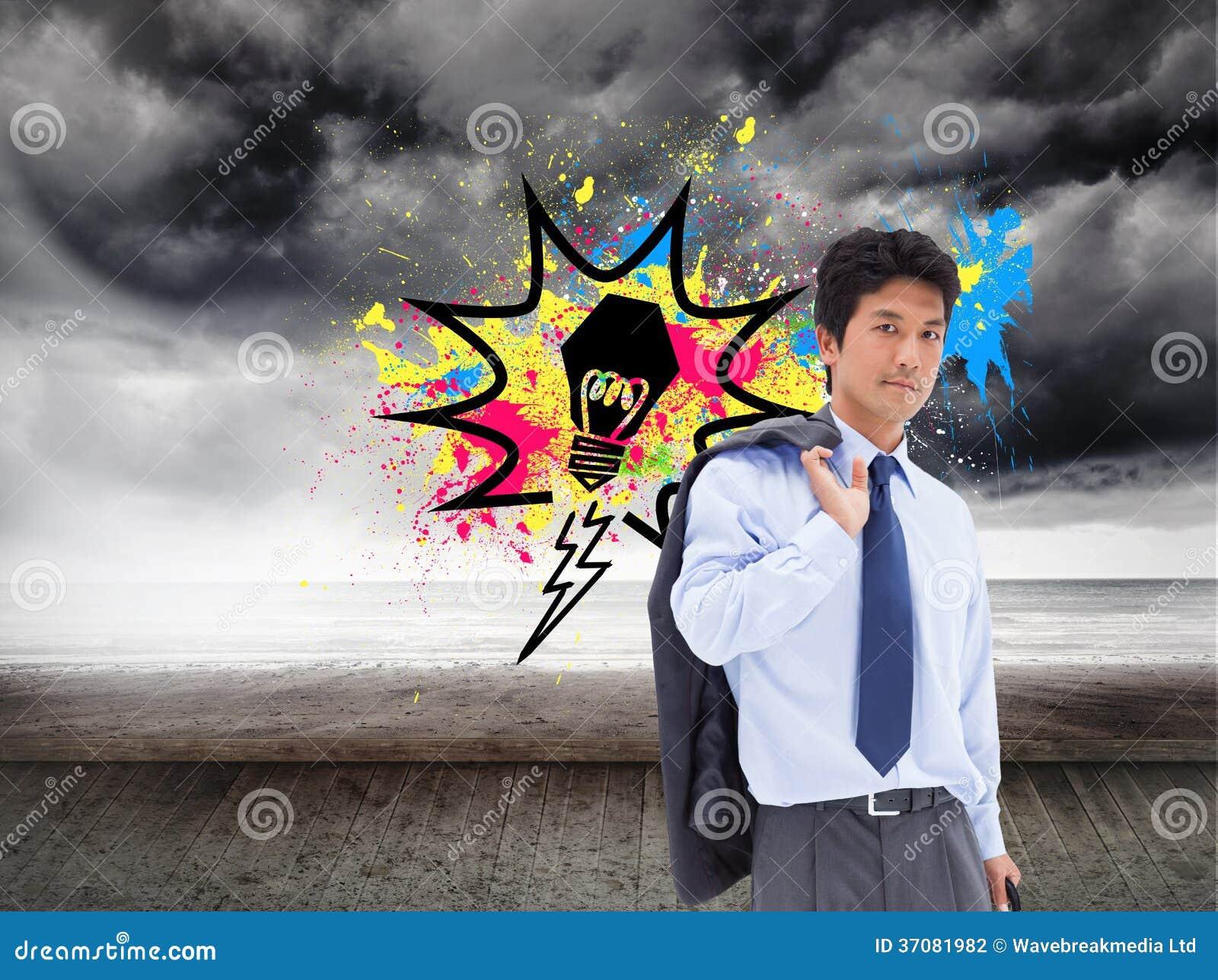 Download Portret Biznesmen Trzyma Teczkę I Jego Kurtkę Na Jego Ramieniu Zdjęcie Stock - Obraz złożonej z chmurny, artystyczny: 37081982