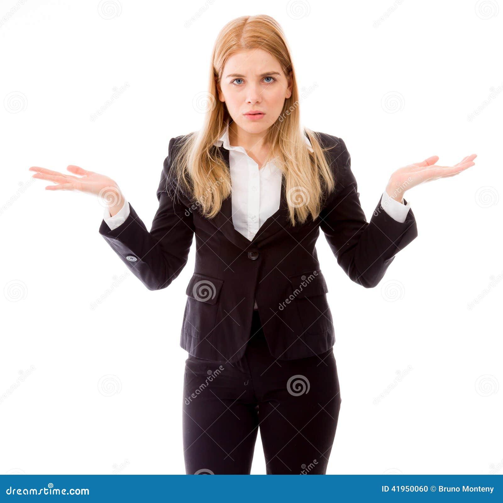 Portret bizneswoman zbroi out pytać co jest problemem