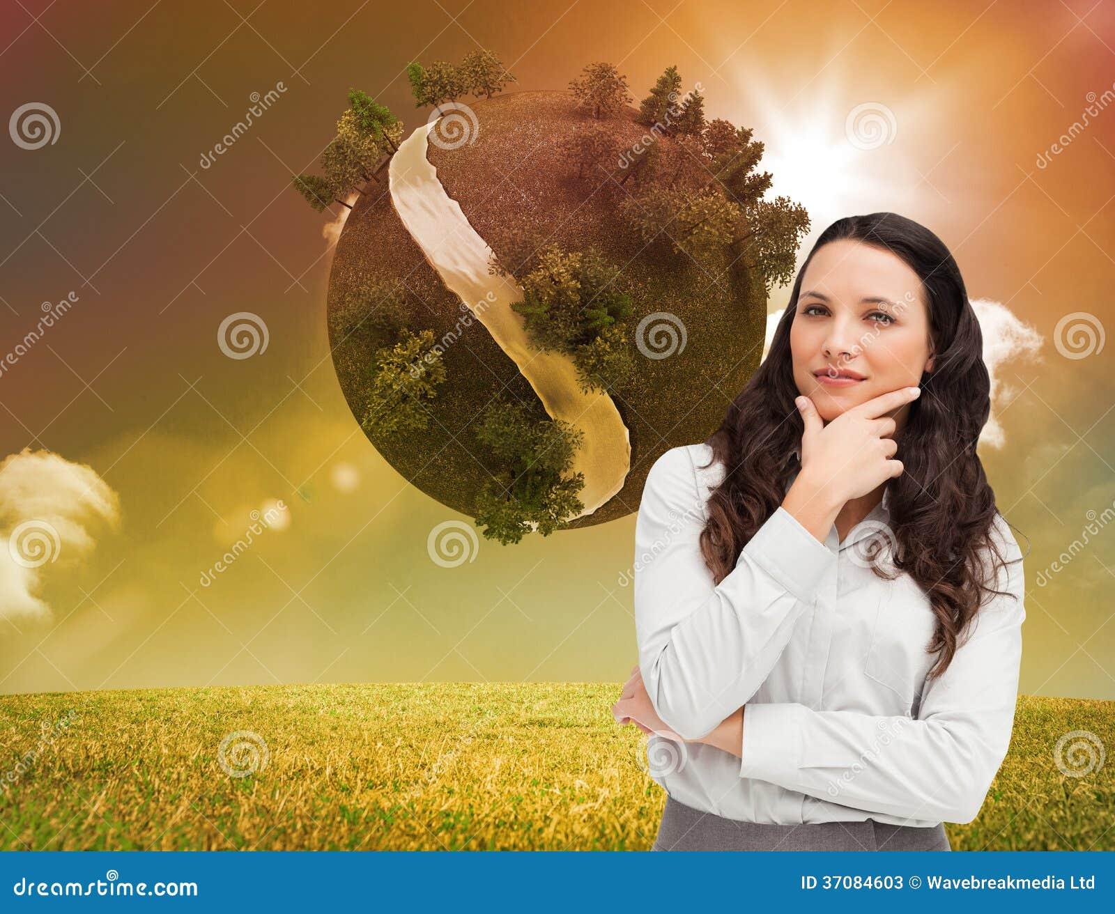 Download Portret Bizneswomanu Pozować Ilustracji - Ilustracja złożonej z wytwarza, chmurny: 37084603
